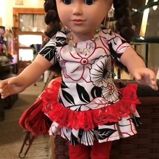 White, Black & Red Dress w/ Red Lace American Girl Doll