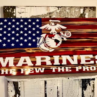 Marine Corps Burnt Wood Flags for Military Fire Marines by Mills Farm in Ravenna Nebraska