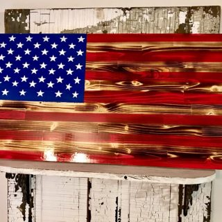 Custom Wood Flags for Military Fire Marines by Mills Farm in Ravenna Nebraska