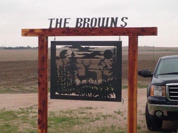 Custom Metal Signs for Home and Business in Ravenna Nebraska Mills Farm Nebraska Wildlife Driveway Metal Sign