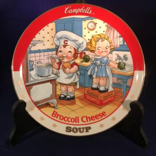 Campbell's Soup Plate: Broccoli Cheese- A limited-edition plate from the collection entitled: The Campbell Kids.Plate No. D4459Comes with a Certificate of Authenticity.1994