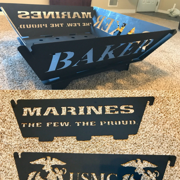 Marine Fire Pit- Navy Fire Pit, Army Fire Pit, Air Force Fire Pit, Military Fire Pit, Portable Fire Pit - Flat Break Down Fire Pit - Easy Storage Fire Pit - Customizable Fire Pit - Camper Fire Pit