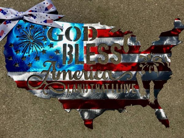 God Bless America 4th of July United States Plasma Cut Flag - Free Personalization & Shipping
