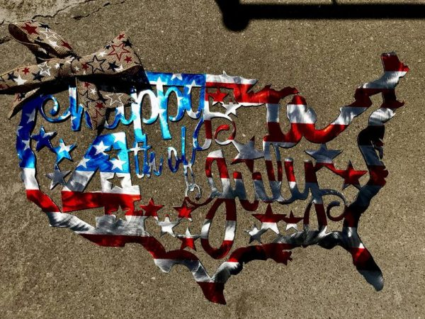 4th of July United States Plasma Cut Flag - Free Personalization & Shipping
