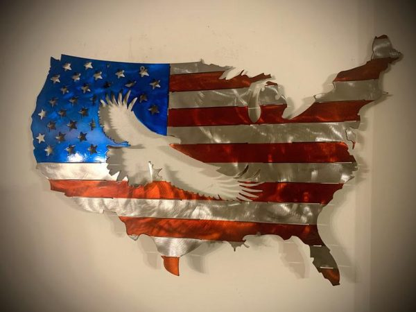 Eagle Rustic Metal United States Plasma Cut Flag - Free Personalization & Shipping
